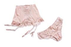 Αγορές και μόδα, θηλυκή έννοια ντουλαπών Σύνολο γοητευτικό μοντέρνο προκλητικό lingerie δαντελλών στο άσπρο υπόβαθρο Γυναίκα στοκ εικόνες