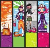 αγορές κοριτσιών αστικές διανυσματική απεικόνιση