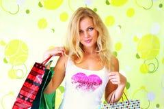 αγορές κοριτσιών τσαντών Στοκ Εικόνα