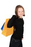αγορές κοριτσιών τσαντών Στοκ Φωτογραφία