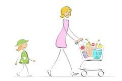 αγορές μητέρων κορών διανυσματική απεικόνιση