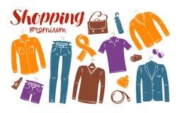 Αγορές, μόδα, κατάστημα ενδυμάτων, έμβλημα μπουτίκ Ντύνοντας σκιαγραφίες επίσης corel σύρετε το διάνυσμα απεικόνισης Στοκ Εικόνες