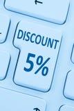 αγορές πώλησης δελτίων κουμπιών έκπτωσης τοις εκατό fve 5% on-line διά Στοκ Φωτογραφίες
