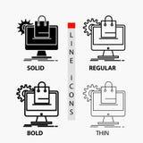 αγορές, σε απευθείας σύνδεση, ηλεκτρονικό εμπόριο, υπηρεσίες, εικονίδιο κάρρων στη λεπτά, κανονικά, τολμηρά γραμμή και το ύφος Gl απεικόνιση αποθεμάτων