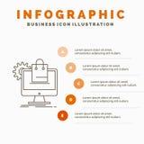 αγορές, σε απευθείας σύνδεση, ηλεκτρονικό εμπόριο, υπηρεσίες, πρότυπο Infographics κάρρων για τον ιστοχώρο και παρουσίαση Γκρίζο  διανυσματική απεικόνιση