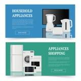 Αγορές συσκευών Διαφήμιση του ηλεκτρικού εγχώριας οικογένειας εξοπλισμού κουζινών προτύπου εμβλημάτων στοιχείων διανυσματικού ρεα απεικόνιση αποθεμάτων