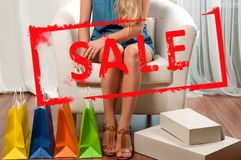 Αγορές τοποθετεί την ψωνίζοντας Πώληση διακοπών Στοκ Φωτογραφίες