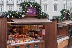 Αγορές Χριστουγέννων στην αγορά λάχανων στο Μπρνο Στοκ Φωτογραφία