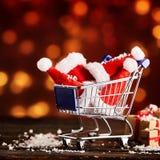 Αγορές Χριστουγέννων caddy Στοκ Φωτογραφία