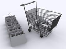 αγορές 2 κάρρων Στοκ εικόνα με δικαίωμα ελεύθερης χρήσης