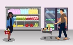 αγοραστές Γυναίκα με ένα καλάθι και άνδρας με το κάρρο στην υπεραγορά απεικόνιση αποθεμάτων