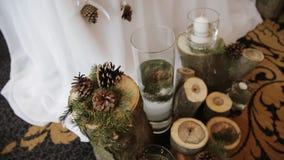 Αγροτικά γαμήλια κεριά ντεκόρ απόθεμα βίντεο