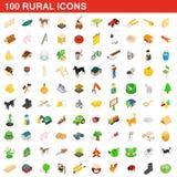 100 αγροτικά εικονίδια καθορισμένα, isometric τρισδιάστατο ύφος Στοκ Εικόνα