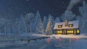 Αγροτικά σπίτι και χριστουγεννιάτικο δέντρο στη νύχτα χιονοπτώσεων ελεύθερη απεικόνιση δικαιώματος