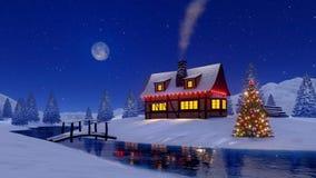 Αγροτικά σπίτι και χριστουγεννιάτικο δέντρο στη χιονώδη νύχτα 4K ελεύθερη απεικόνιση δικαιώματος