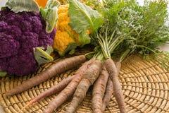 Αγροτικά φρέσκα κουνουπίδι και καρότα Στοκ Φωτογραφία