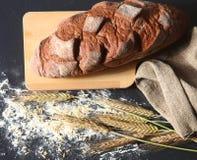 Αγροτικά φλοιώδη αυτιά ψωμιού και σίτου σε ένα σκοτάδι Στοκ εικόνα με δικαίωμα ελεύθερης χρήσης