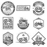 Αγροτικές ετικέτες με το τρακτέρ διανυσματική απεικόνιση