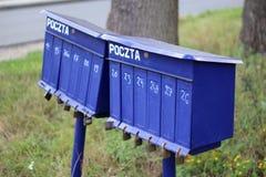 Αγροτικές μπλε ταχυδρομικές θυρίδες Στοκ Εικόνα