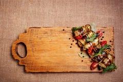 Αγροτικές τηγανισμένες γεμισμένες κολοκύθια και μελιτζάνα Στοκ Εικόνα