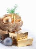 Αγροτική ανασκόπηση δώρων Χριστουγέννων Στοκ Φωτογραφία