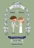 Αγροτική γαμήλια κάρτα ζευγών κινούμενων σχεδίων Στοκ Εικόνες