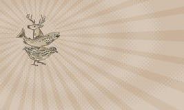 Αγροτική επαγγελματική κάρτα ορτυκιών πεστροφών ελαφιών Στοκ Φωτογραφία