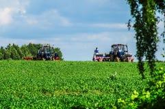 Αγροτική εργασία άνοιξη για τους ρωσικούς τομείς στην περιοχή Kaluga Στοκ Εικόνα