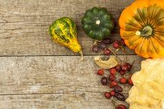 Αγροτική διακόσμηση φθινοπώρου Κολοκύθες συγκομιδών Πλαίσιο γωνιών υποβάθρου φθινοπώρου με τις κολοκύθες και τα φύλλα Στοκ Φωτογραφία