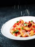 Αγροτική ιταλική θαμπάδα κινήσεων κιγκλιδωμάτων τυριών ζυμαρικών rigatoni Στοκ Εικόνες