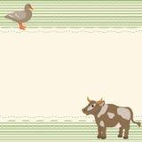 Αγροτική κάρτα ύφους με την αγελάδα και τη χήνα Στοκ Εικόνες