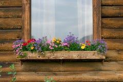 Αγροτική ξύλινη καμπίνα με τα ζωηρόχρωμα λουλούδια στο windowbox Στοκ Φωτογραφία