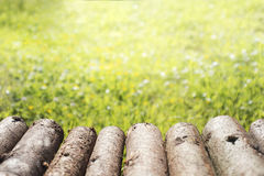 Αγροτική ξύλινη επιτραπέζια προοπτική κούτσουρων και θολωμένο πράσινο υπόβαθρο Στοκ φωτογραφία με δικαίωμα ελεύθερης χρήσης