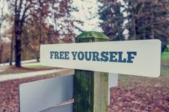 Αγροτική πινακίδα υπαίθρια σε ένα πάρκο φθινοπώρου με ελεύθερο το σας λέξεων στοκ εικόνα