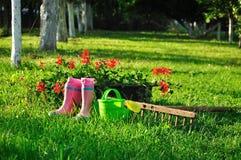 αγροτική σκηνή κήπων ανασκόπησης Στοκ Φωτογραφίες