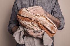 Αγροτική φλοιώδης φραντζόλα του ψωμιού στα χέρια ατόμων ` s αρτοποιών στοκ εικόνα