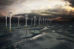 Αγροτικοί ανεμοστρόβιλοι ανεμόμυλων που παράγουν την ηλεκτρική ενέργεια στον ωκεανό Στοκ Φωτογραφίες