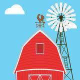 Αγροτικός ανεμόμυλος, σιταποθήκη, φράκτης, σπίτι Στοκ φωτογραφία με δικαίωμα ελεύθερης χρήσης
