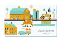 Αγροτικός γεωργία και αγρότης, αγροτική καλλιέργεια και τοπίο Επίπεδη απεικόνιση σχεδίου στοκ φωτογραφίες