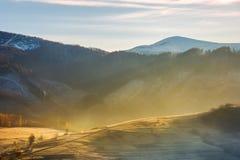 Αγροτικός λόφος στην καμμένος ομίχλη στοκ φωτογραφίες με δικαίωμα ελεύθερης χρήσης