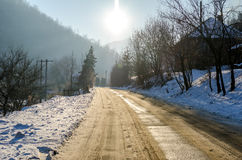 Αγροτικός δρόμος κατά τη διάρκεια του χειμώνα Στοκ Φωτογραφία