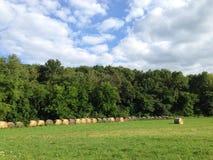 Αγροτικός τομέας με τον κυλημένο σανό Στοκ Εικόνες