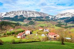 Αγροτικός τουρισμός στους βασκικούς τομείς χώρας, Ισπανία Στοκ Φωτογραφία