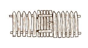 Αγροτικός φράκτης φιαγμένος από ξύλο ελεύθερη απεικόνιση δικαιώματος