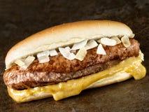 Αγροτικό αμερικανικό χοτ-ντογκ με τη μουστάρδα και το κρεμμύδι Στοκ Εικόνα