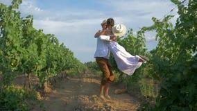 Αγροτικό ειδύλλιο, καλλιεργητής κρασιού που περιβάλλει την αγρότισσα στο καπέλο αχύρου και το άσπρο φόρεμα επιλέγοντας τα σταφύλι απόθεμα βίντεο