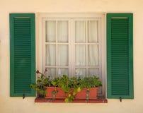 Αγροτικό παράθυρο με τα παλαιά πράσινα παραθυρόφυλλα και το δοχείο λουλουδιών Στοκ Φωτογραφίες