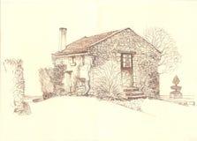 Αγροτικό παλαιό σπίτι τοπίων Στοκ Εικόνα