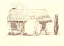 Αγροτικό παλαιό σπίτι τοπίων Στοκ φωτογραφία με δικαίωμα ελεύθερης χρήσης