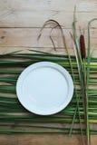 Αγροτικό πιάτο με τα cattails Στοκ Εικόνες